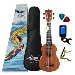 Aiersi marca 21 polegada mogno soprano ukulele guitarra havaiana ukelele
