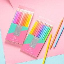 12/24 Macaron couleurs mignon crayon de couleur Non toxique ensemble de crayons pour les étudiants belle dessin écriture fournitures école Art papeterie