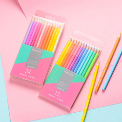 12/24 Macaron Colors Cute Colored Pencil Non-toxic Pencil Set For Students Lovely Drawing Writing Supplies School Art Stationery
