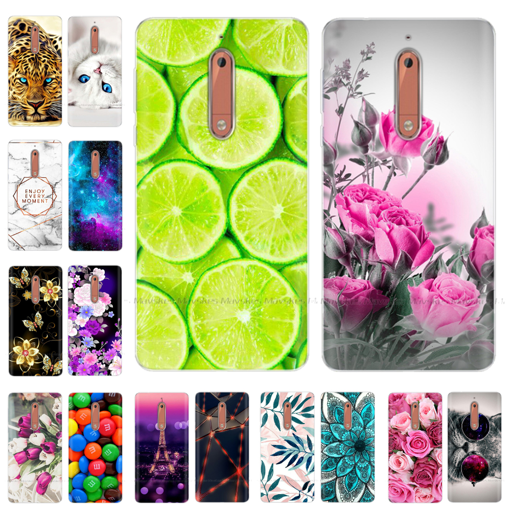 Phone Case For <font><b>Nokia</b></font> <font><b>5</b></font> 3 Soft Silicone TPU Ultra Thin Flower Floral Painted Back Cover For <font><b>Nokia</b></font> <font><b>5</b></font> Case <font><b>5</b></font>.2 inch <font><b>TA</b></font>-<font><b>1053</b></font> Global image