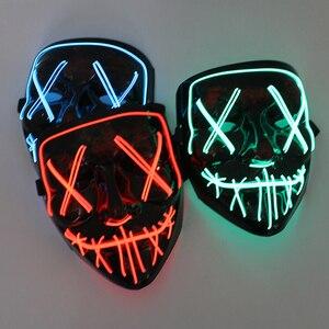 Halloween LED Mask Purge Masks Election Mascara Costume DJ Party Light Up Masks Glow In Dark Mascara Horror Mask Glowing Masker(China)