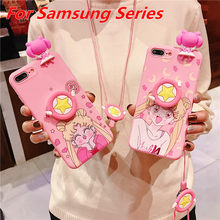 Śliczne Sailor Moon 3D Cartoon uchwyt etui do Samsung Galaxy S20 Ultra S9 S8 S10 uwaga 9 10 Plus A50 A51 A70 A71 A7 2018 A20 pokrywa(China)
