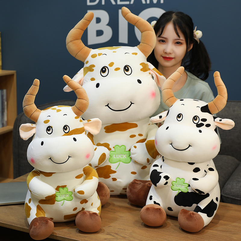 New Year of The Bull 2021 Symbol Gift OX Year Doll Rattle Decor Kawaii Lucky Cute Milk Cow Plush Soft Toy Plushies Pilllow