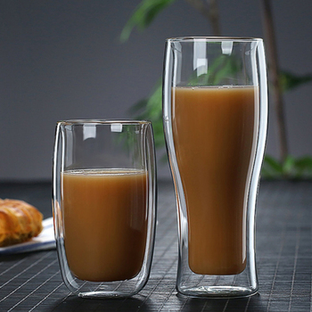 Heat Resistant Double Wall Glass Coffee Tea Cups And Mug Qith Double Bottom Clear Beer Wine Glass Cup   80/180/240/250/350/450ml cow udder shaped juice pitcher clear wine beer mug cup double glazing handle glass gift innovative milk creamer coffee