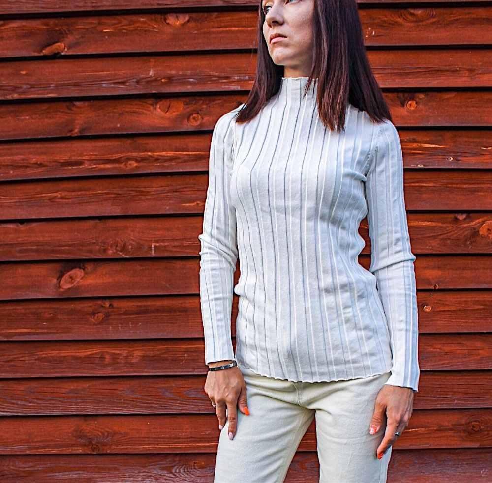 100% Katun Sweater Wanita Rib Rajutan Tops Mock Leher Sweater Pullovers Dasar
