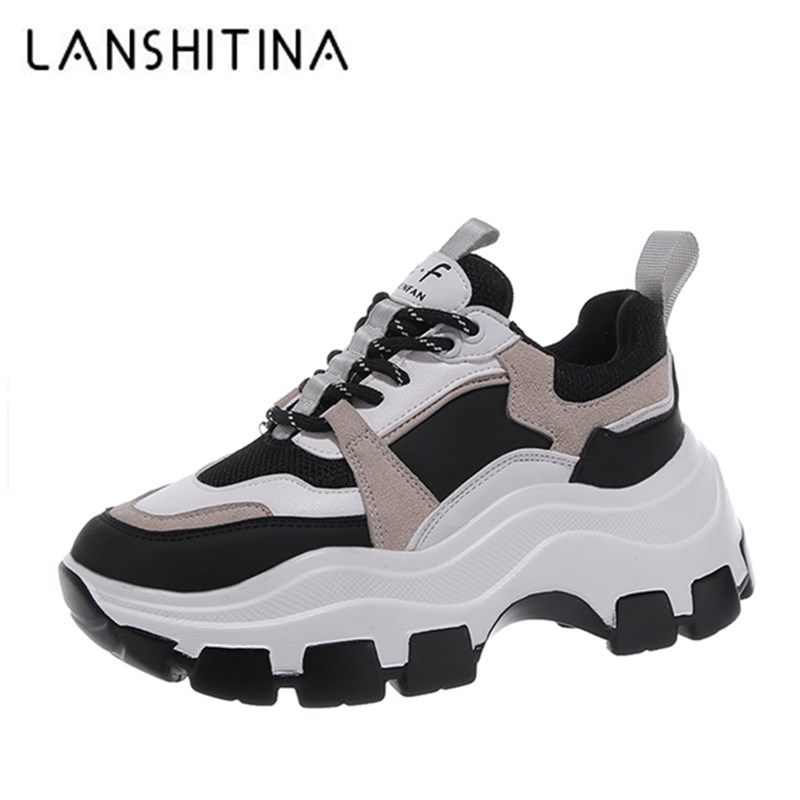 2020 Winter Platform Sneakers Women Spring 8CM Thick Bottom Dad Shoes Height Increased Casual Shoes Breathing Warm Leisure Shoes 1