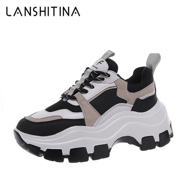 $ US $19.00 2020 Winter Platform Sneakers Women Spring 8CM Thick Bottom Dad Shoes Height Increased Casual Shoes Breathing Warm Leisure Shoes