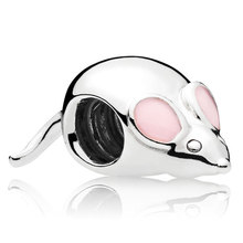 Original Pink Enamel Cute Cartoon Mouse Beads Fit 925 Sterling Silver Bead Charm Pandora Bracelet Bangle DIY Jewelry(China)
