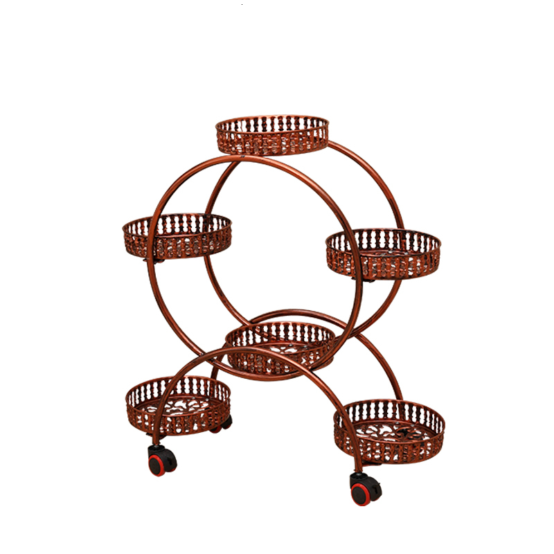 Wheel Iron Art Flower Rack European Style Assemble Corner A Living Room Move Shelf Balcony Simplicity Countryside Bonsai Frame