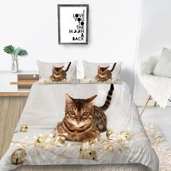 Juego de cama extragrande con Gato y campana, funda de edredón 3D moderna, juego de cama individual con diseño único