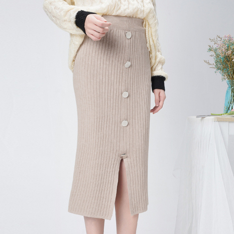 High Waist Winter Knitted Women Skirts 2019 Autumn Warm Casual Skirt Long Female Front Split Rib Skirts With Buttons Streetwear Islamabad