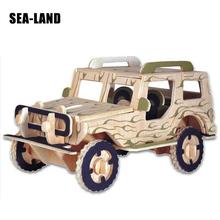 Kids Toy Wooden Puzzle Car 3d For Children Logic Camouflage Jeep Best Montessori Educational Diy As A Hobby Gift Family