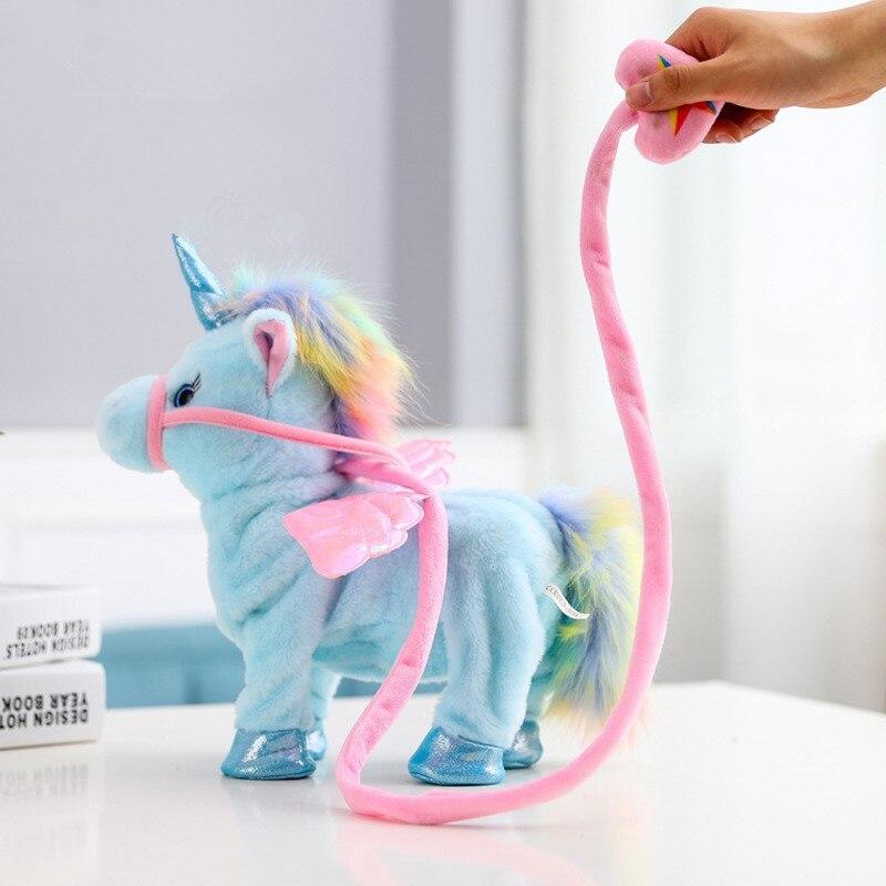 35cm Electric Walking Unicorn Plush Toy Stuffed Animal Toy Electronic Music Unicorn Baby Toys Children Birthday Gifts