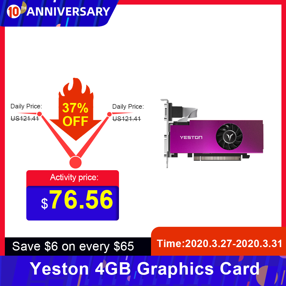 Yeston Graphics-Card GPU GDDR5 Radeon RX550 128bit VGA D5 6000mhz 4GB HD DVI DVI-D Memory title=
