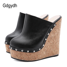 Gdgydh Ultra High Heel Cork Wedge Mules Sexy Rivets Platform Shoes For Party Nightclub 2021 New Spring Summer Plus Size 42