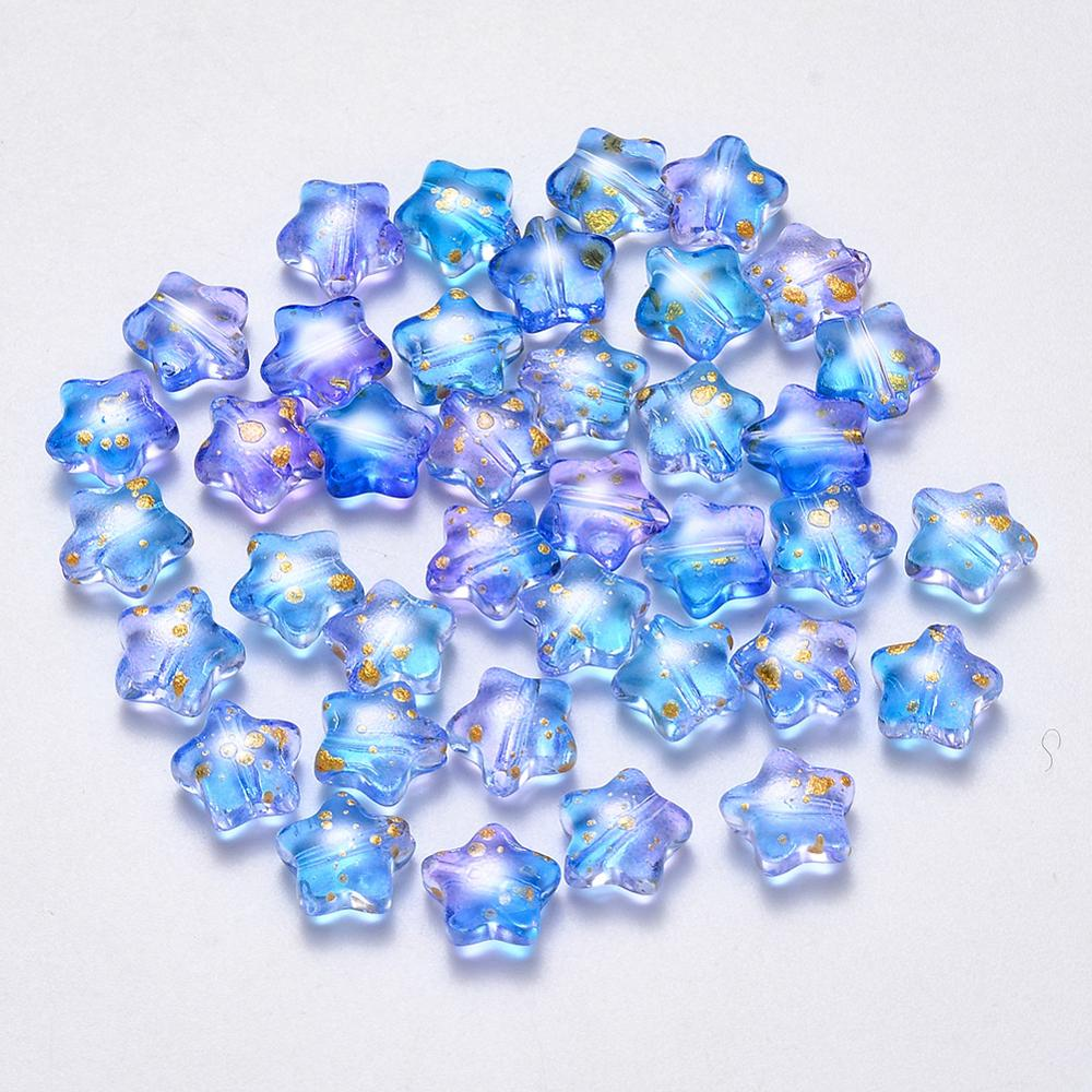 100Pcs Transparent Spray Painted Glass Beads Five-pointed Star Rainbow Color Beads For DIY Jewelry Making Findings 8x8.5x4mm(China)