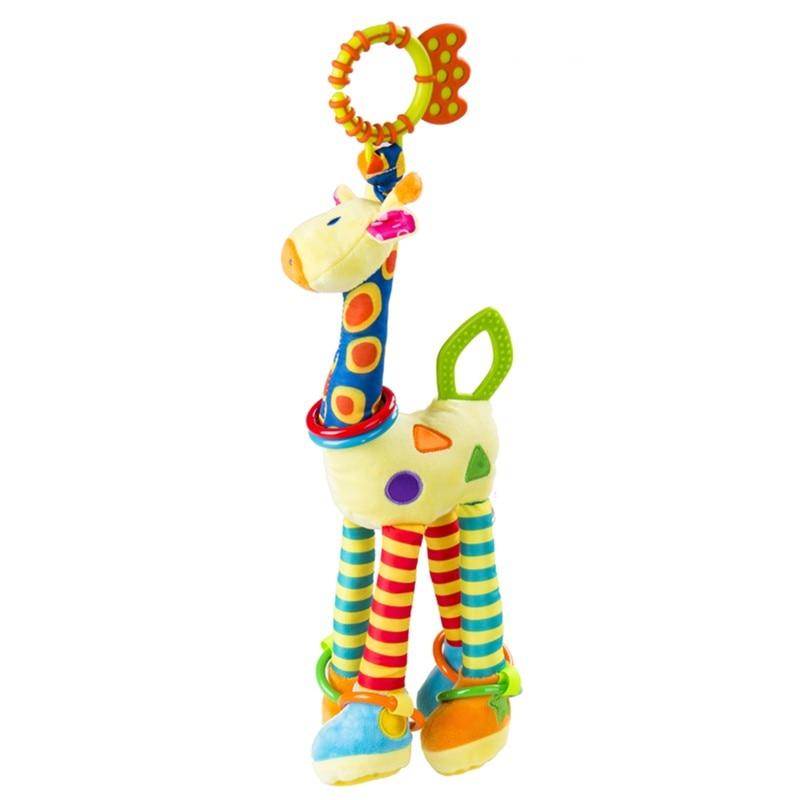 Pudcoco Newborn Baby Soft Giraffe Animal Handbells Lovely Cute Rattles Plush Pram Bed Bells Soft Teether Hanging Toy Handbell