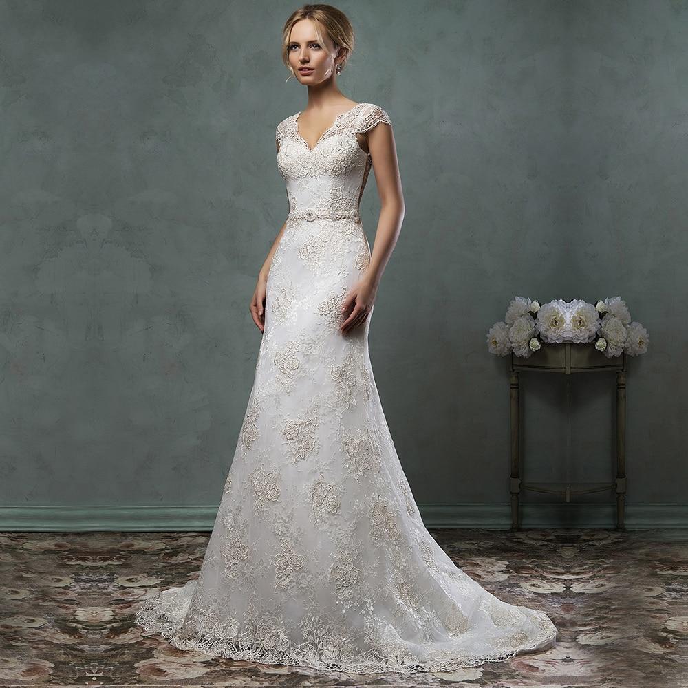 Noble Elegant Fashion V-Neck Sleeveless Button Lace Appliques Beaded Mermaid Vestido De Noiva Wedding Dresses 2015