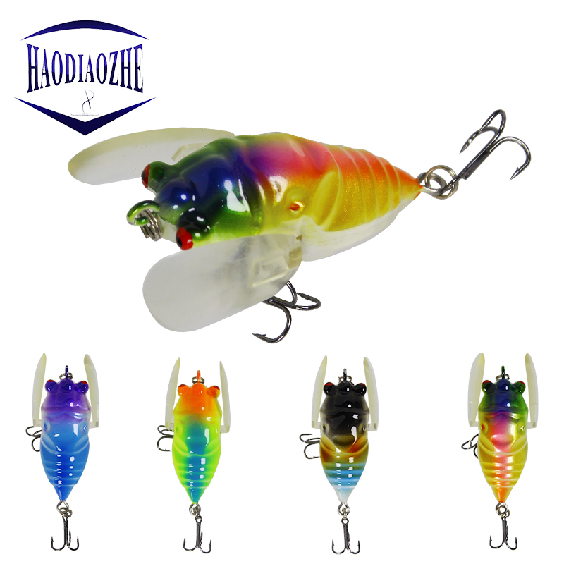 HAODIAOZHE 6,3g 5 cm Barsch Insects bait Fishing bait Locks Heights Barb hook Tackle Artificial bait fishing accessories YU250