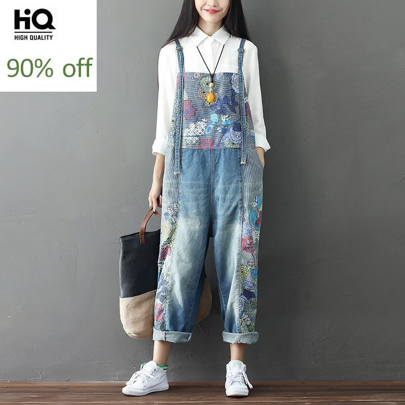 Fashion 2020 Womens Wide Leg Jeans High Quality Pattern Full Length Loose Denim Overalls Washed Print Overalls Casual Streetwear