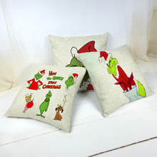 Funny Cartoon Christmas Pattern Cushion Cover Holiday Supplies