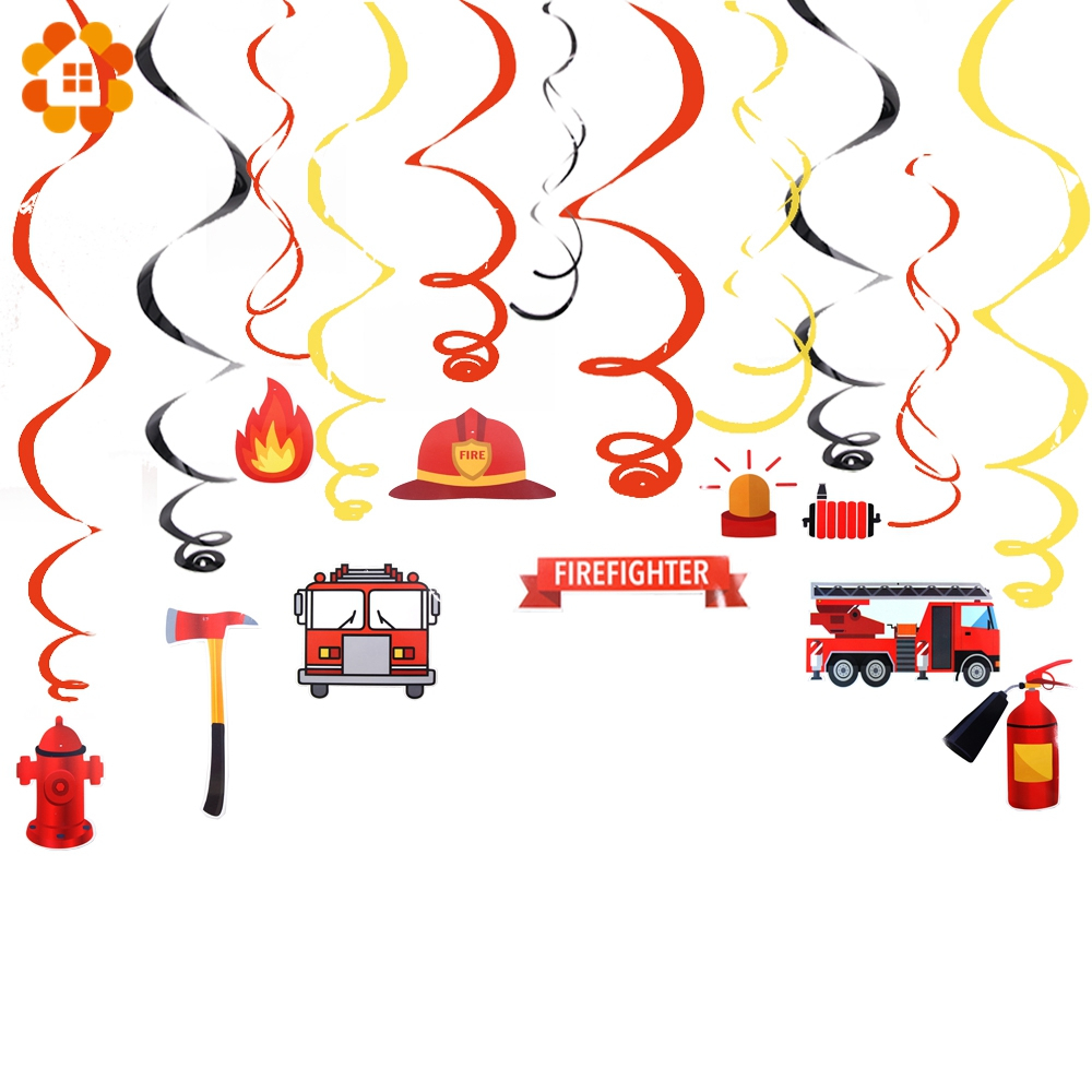 Set Of Firefighter Party Decorations DIY Spiral Ornaments Swirl Decorations Fire Theme Party Supplies Kids Birthday Decorations