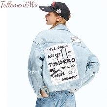 Women Frayed Denim Bomber Jacket Appliques Print Female Vintage Jeans Jacket Outwear Casual Loose Autumn Fashion Hip Hop Coat aelfric long style denim jean jacket coat lets rock pattern print hip hop jeans outwear men women retro casual streetwear rk08