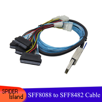 SFF8088 to SFF8482 MINI SAS 26P to 4 SAS 29P Cable 4pin IDE Power Server Array Card Hard Disk Data Cable