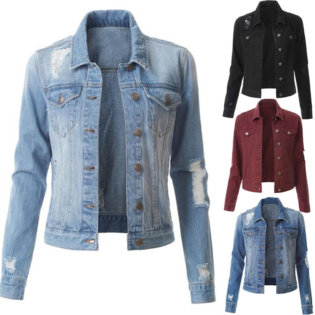 Spring Women Light Blue Pearl Beading Slim Denim Jackets Korean