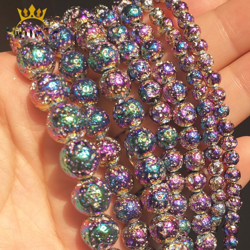 Natural Stone Beads Multicolor Rock Volcanic Lava Round Beads For Jewelry Making DIY Bracelet Earring Accessories 15''4/6/8/10mm