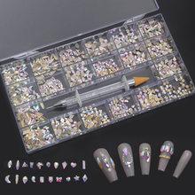 1000Pcs/Box Mixed AB Glass Crystal Diamond In Grids 21 Shape And SS4-SS20 Flatback Nail Art Rhinestone Set With 1 Pick Up Pen