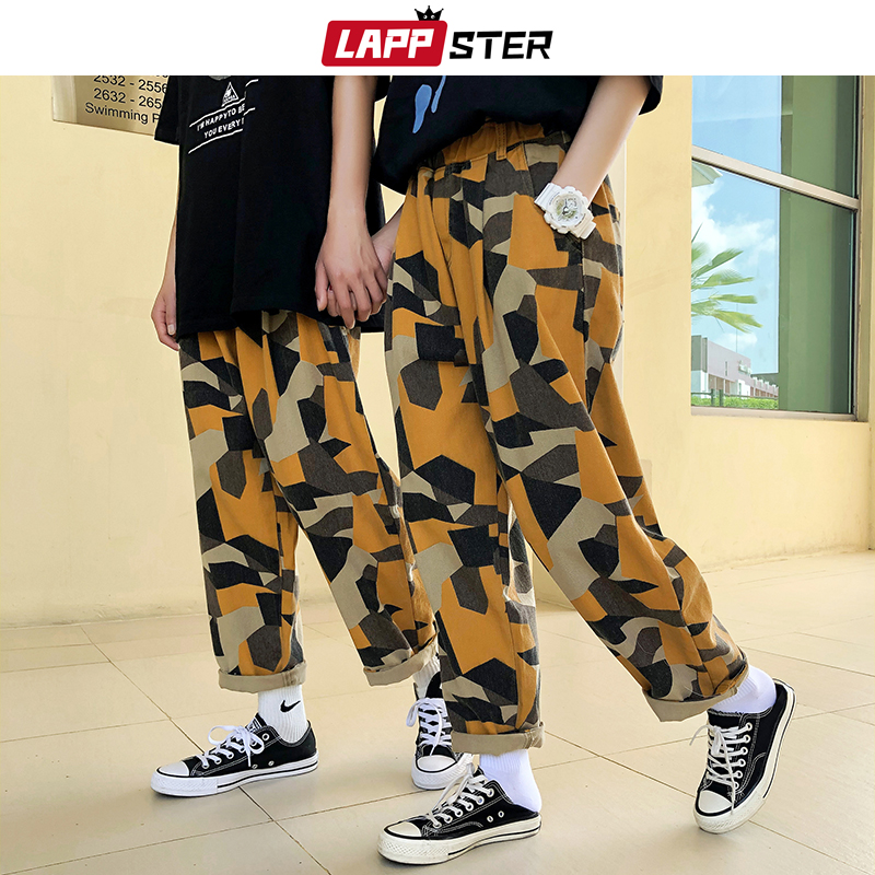 LAPPSTER Mens Yellow Harajuku Camo Sweatpants 2020 Couple Camouflage Harem Pants Summer Fashions Trousers Baggy Joggers For Men