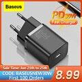 Baseus супер Si 30 Вт USB C зарядное устройство адаптер для iPhone 12 Surface Pro Тип C QC 3,0 быстрой зарядки PD для Xiaomi Мобильный телефон быстрое зарядное устро...