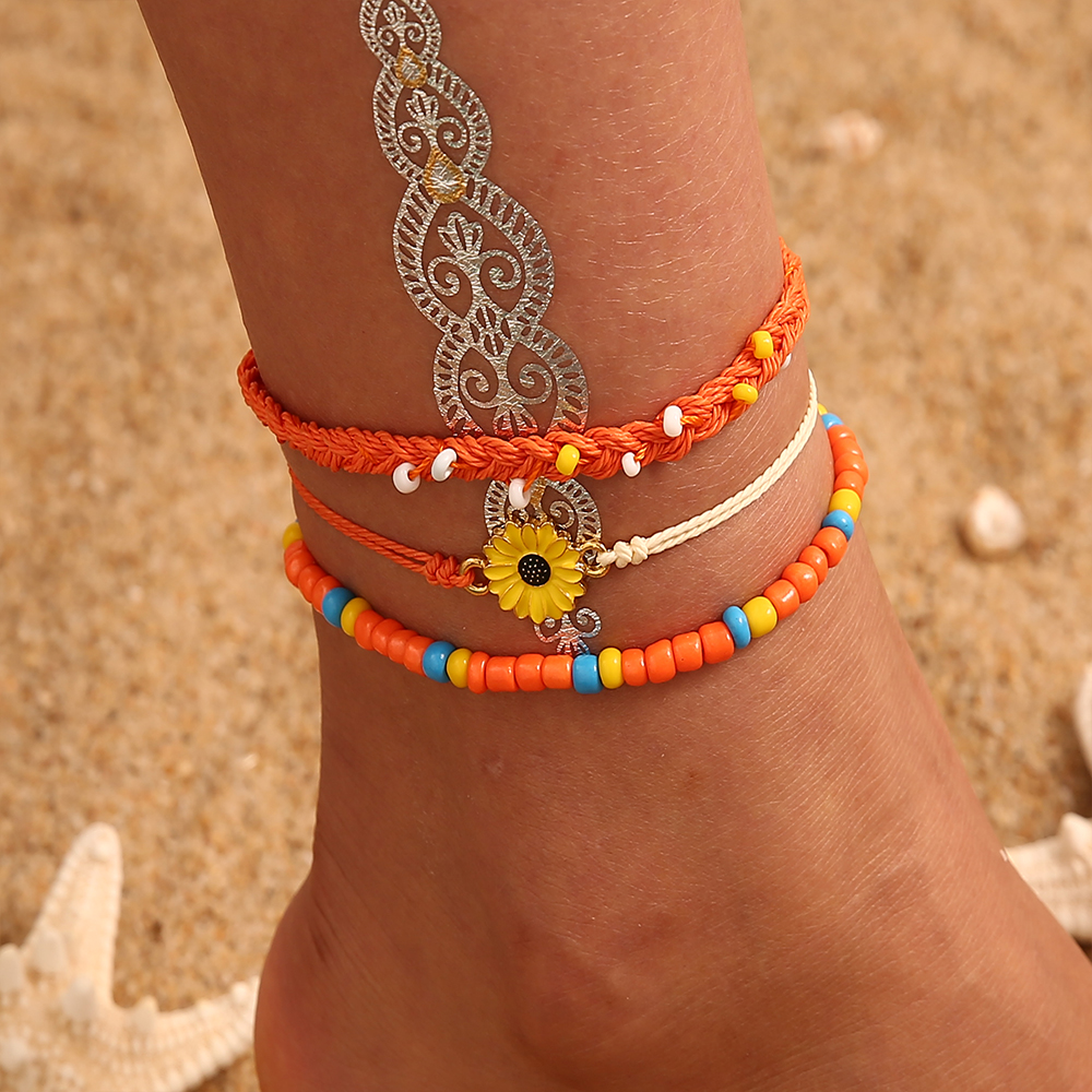Bohemian MultiLayers Starfish Turtle Beads Anklets For Women Vintage Boho Shell Chain Anklet Bracelet Beach Body Foot Jewelry