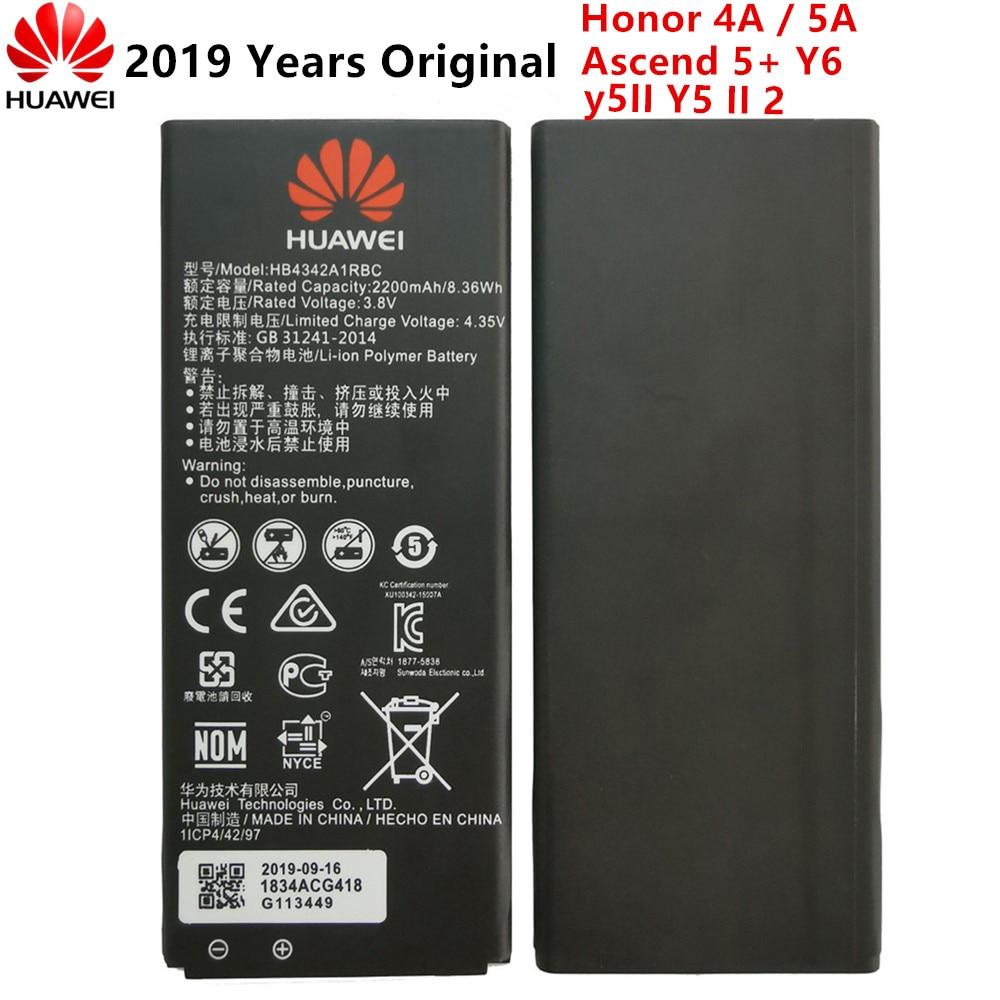 Original HB4342A1RBC Batterie Für Huawei y5II Y5 II 2 Ascend 5 + Y6 honor 4A SCL-TL00 honor 5A LYO-L21 2200mAh Batterie