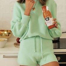 Модный вязаный Повседневный свитер из двух частей Женский трикотажный