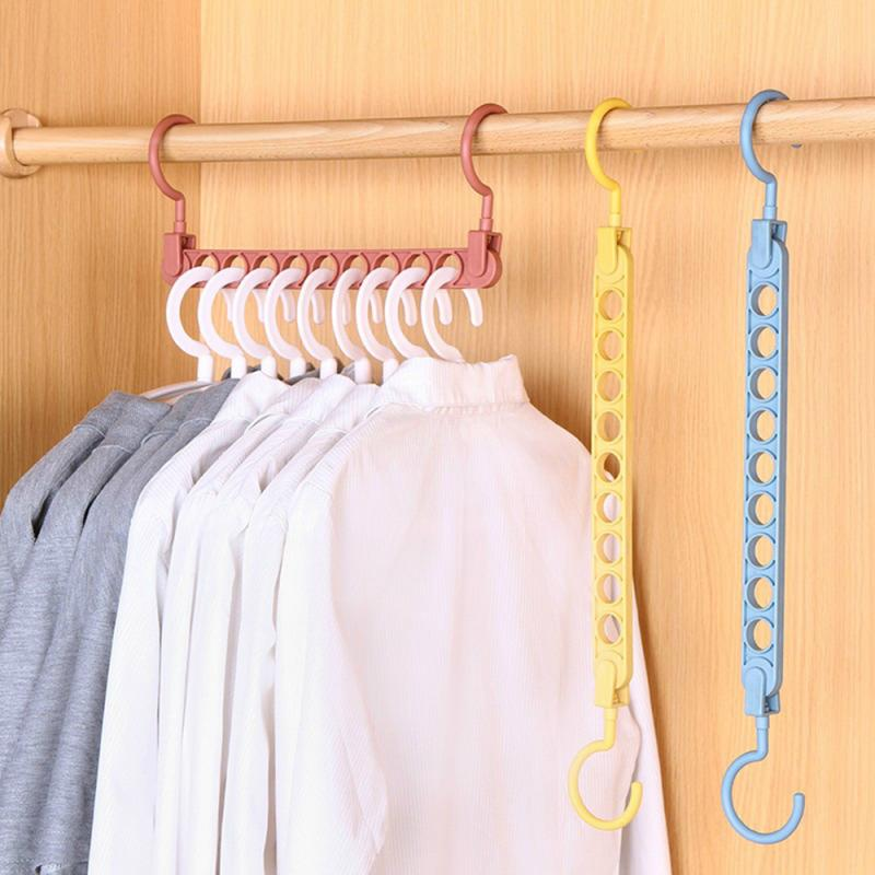 9Hole Magic Hangers Clothes Drying Rack Practical Closet Clothes Organizer Hanger Magic Plastic Clothes Hanger Space Saving Rack