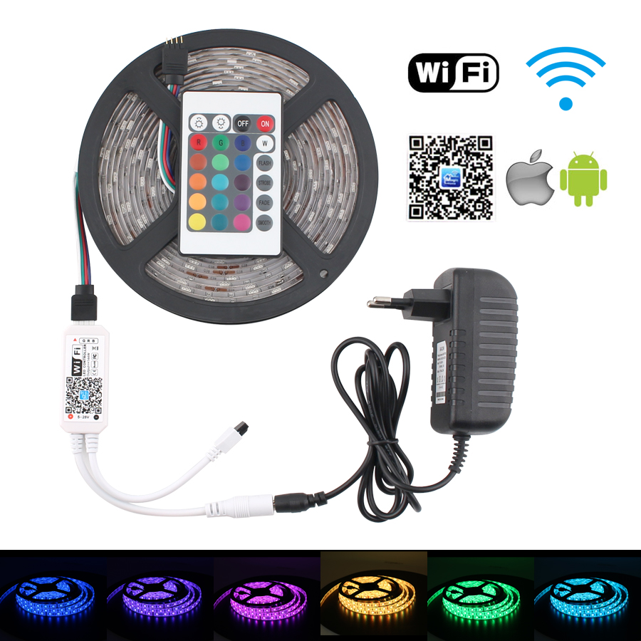 RGB 12V <font><b>Led</b></font> Strip Waterproof Wifi <font><b>PC</b></font> 5050 RGB <font><b>LED</b></font> Strip Light Lamp Neon Tape Diode Ribbon 12V adapter + Wifi Remote Full set image