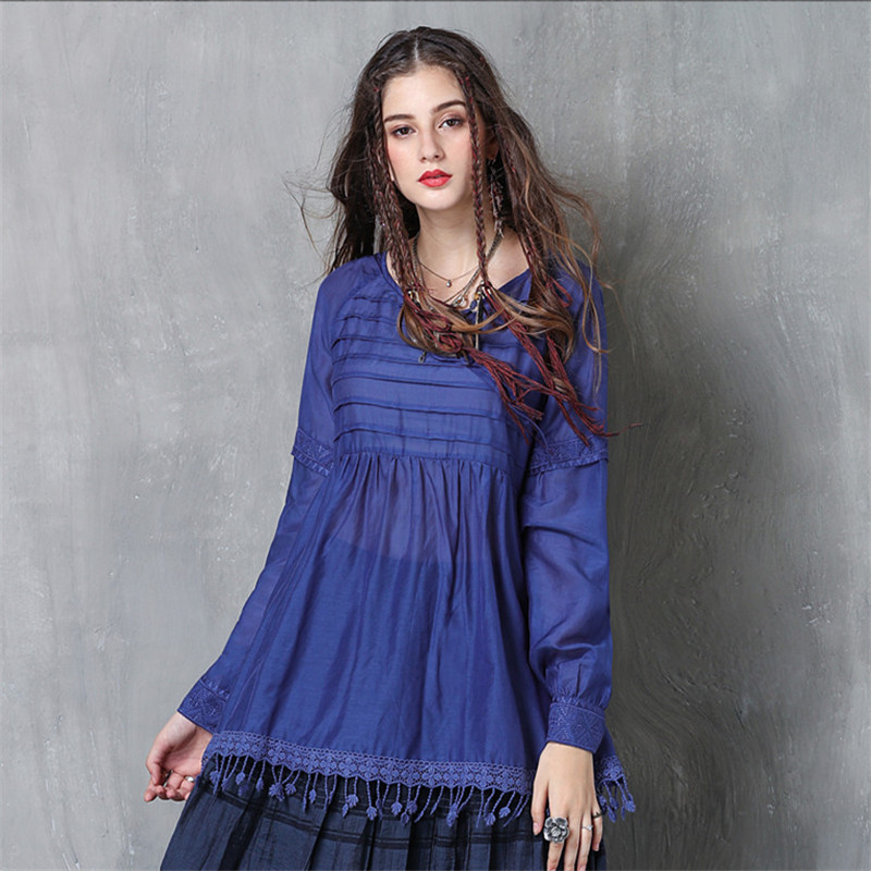 Vintage Women Slik Tassel Blouse 2019 Autumn Silk Women 39 s Blouse Shirts Cotton Pullover Blouses Solid Dark Blue Top B9225 in Blouses amp Shirts from Women 39 s Clothing
