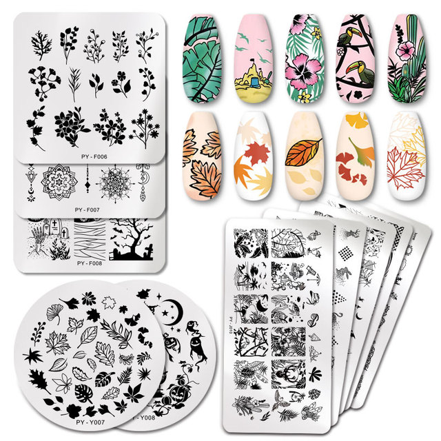 PICT YOU Nail Stamping Plates Tropical Collection Nail Art Stamp Templates DIY Nail Image Plate Stainless Steel Design Tool