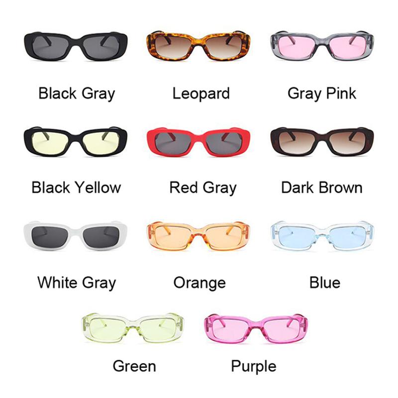 Vintage Black Square Sunglasses Women Luxury Brand Small Rectangle Sun Glasses Female Gradient Clear Mirror Oculos De Sol