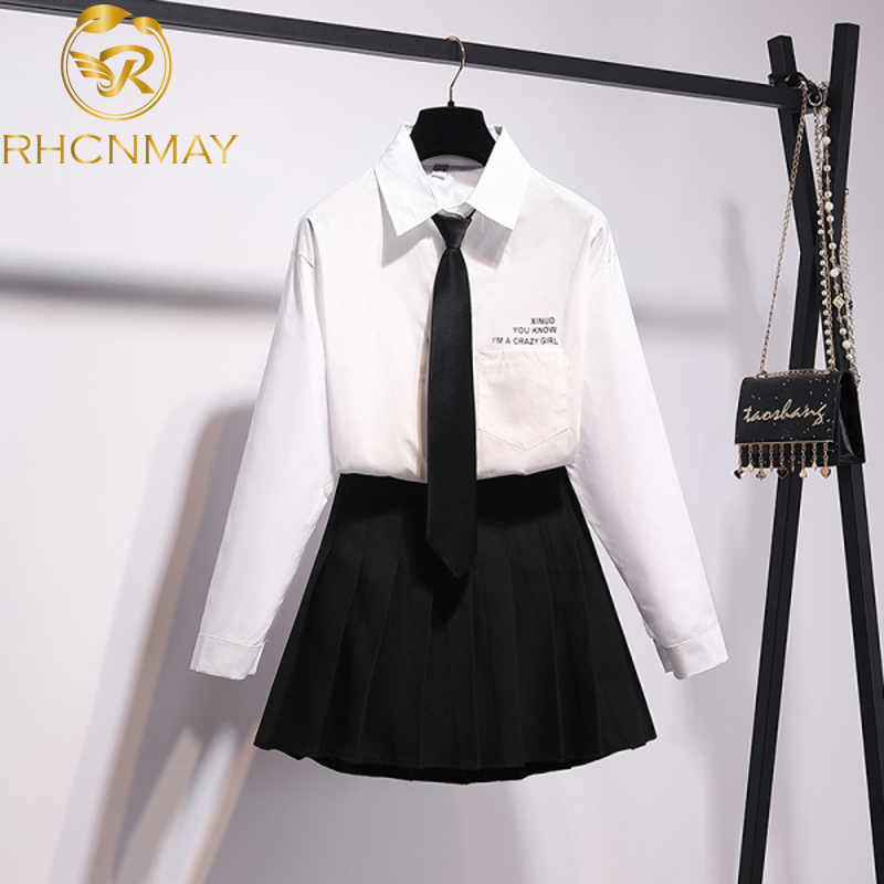 New Spring Women Sets Blouse And Pleated Skirt Letter Print Tie White Blouse And Mini Skirt Sweet Style 2020 Two Piece Set