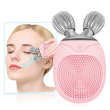 Mini Silicone Facial Brush Lifting face roller Electric Cleansing Ultrasonic Vibration Massage tool