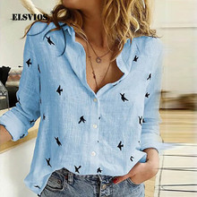 ELSVIOS 2019 Autumn basic blouse shirt women casual loose lo