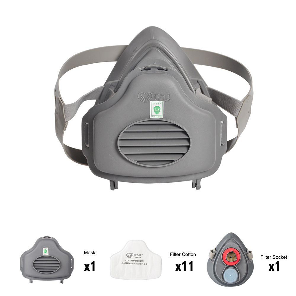 POWECOM 3700 Dust Mask Particulate Respirator Half Face Mask  Filter Cotton Socket Protective Mouth Mask Anti-Dust Haze