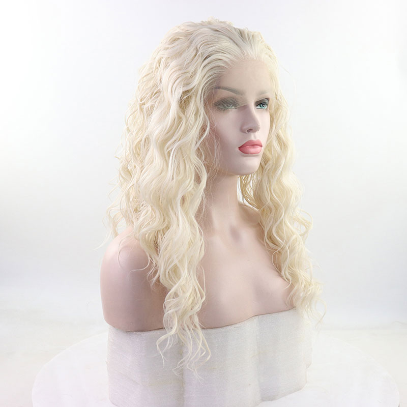 Bombshell Natural White Loose Wave 13*3 Inch Synthetic Lace Front Wig Heat Resistant Fiber Natural Hairline For Women Girl Wigs