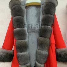 Новая брендовая куртка с натуральным лисьим мехом, парка с большим воротником из лисьего меха и подкладкой из лисьего меха, Толстая теплая Модная водонепроницаемая куртка