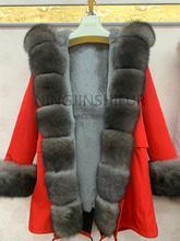 Nouvelle marque véritable manteau de fourrure de renard naturel veste parka avec grand grand col de fourrure de renard et doublure de fourrure de renard épais chaud mode imperméable à leau