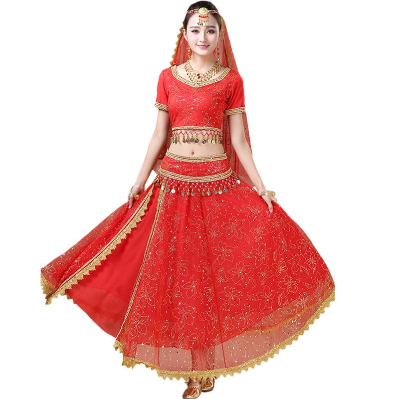 2020 nouveaux Costumes de danse indienne Festival Costume de danse du ventre Costume danse Performance femme adulte 5 pièces ensemble