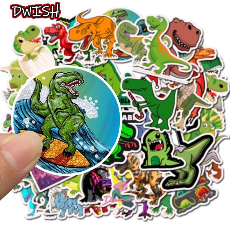 50pcs/Pack Cute Animal Dinosaur Funny Stickers Skateboard Guitar Suitcase Freezer Children Girl Graffiti Sticker Kid Classic Toy